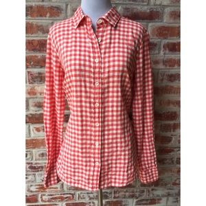 J. Crew Red White Gingham Flannel 10 Perfect Shirt
